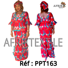 Robe 163 en pagne Chiganvy rouge a motif