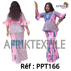 Robe 166 en pagne Chiganvy rose a motif